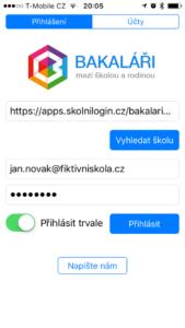 Bakaláři přihlášení do mobilní aplikace